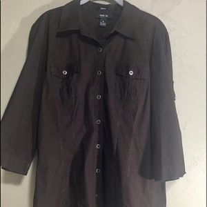 Style & Co Women's Top Blouse Buttoned Up